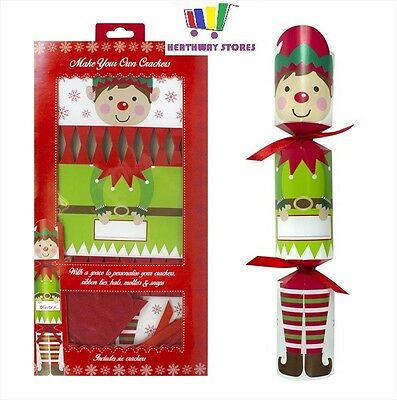 6 X Elf Make Your Own Christmas Crackers Snaps Jokes Hats Kit Set New Xmas