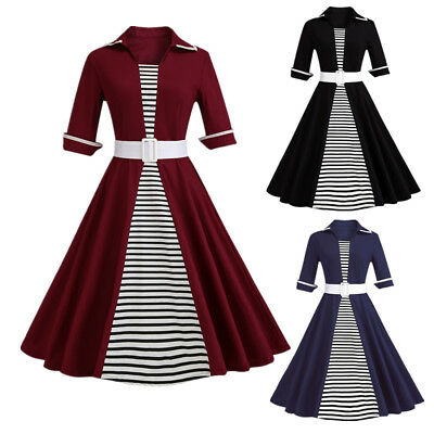 Zaful Women's Vintage Dress Classic Stripe Patchwork Party Tea Dress Plus Size