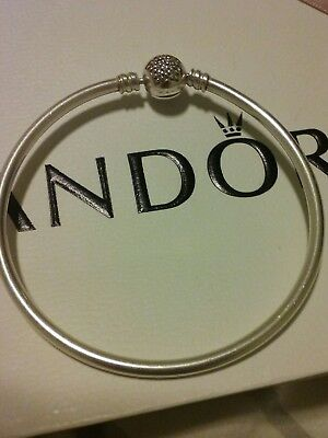 Genuine Pandora silver bracelet /bangle with pave star clasp .Retired