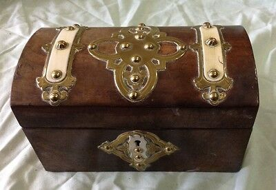 Vintage Wooden Tea Caddy with Brass