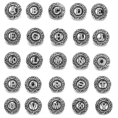 new fashion ginger 18mm antique silver rhinestone English Letters snaps charms