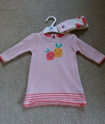 Baby Girls jumper dress and tights outfit/set 3 to 6 months ex-M&S