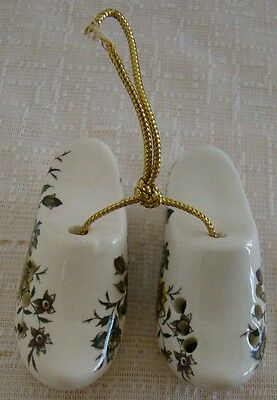 Set of 2 ceramic pomanders - clogs with floral design - Sallie Robinson