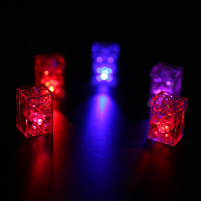 2 x LED  LUNAR LIGHTS compatible with Lego Blocks FREE AXLE!!!! Red & Blue!!!!