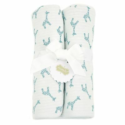 "Mud Pie Baby Boy Receiving Blanket White and Blue Giraffe  28"" x 34""  NEW"