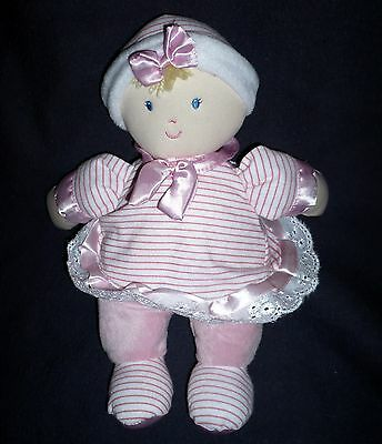 Kids Preferred BABY DOLL Plush Pink Striped Outfit Blond Hair Blue Eyes Lovey