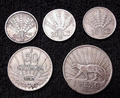 1942 Uruguay 1 PESO - 1942-54 1943 - 20 50 centesimos 5 CIRCULATED SILVER COIN