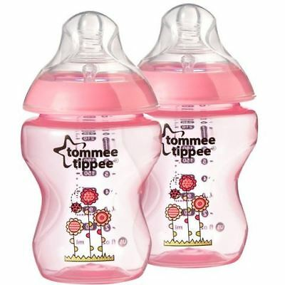 Tommee Tippee Closer to Nature Decorated Bottles - 2 x 260ml Bottles Pink