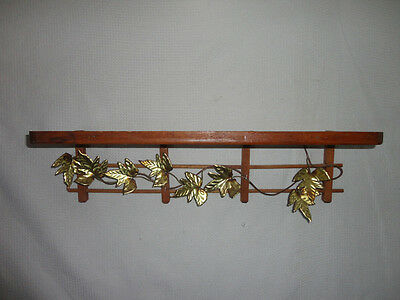 Home Interiors ''Wood & Brass Leaves Wall Shelf ''   Gorgeous 19'' x 5''