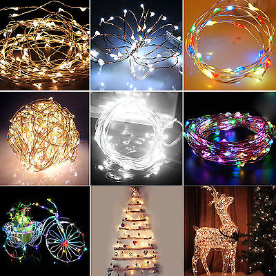 20-200LED Solar / Battery Powered Outdoor LED Fairy Lights String Xmas Party AGS