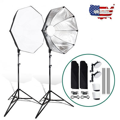 2 set LED Photo Continuous Light  24 inch 60cm Octagon Softbox 9ft Light Stand K