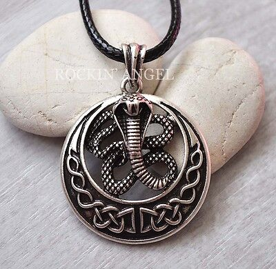 Antique Silver Plt Celtic Snake Pendant Necklace Viking Knot, Pagan Cobra Gift