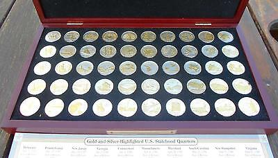 Complete Set Gold and Silver Highlighted U.S. Statehood Quarters, 50 Coins