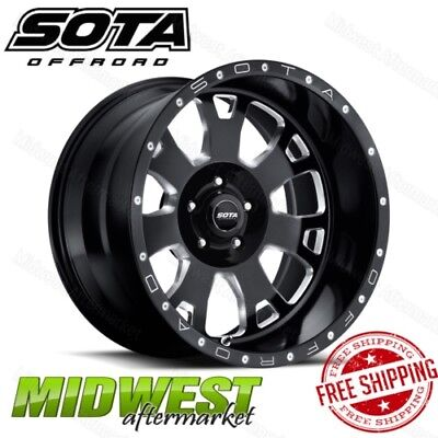 SOTA Offroad Death Metal Black BRAWL 20x9 5x150 Bolt Pattern 0 Offset 110 Bore