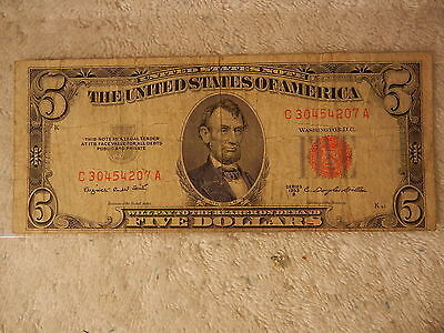 1953 B $5 Dollar Bill United States Legal Tender Red Seal Note Paper Money