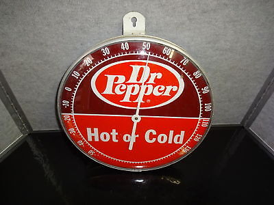 "Vintage Dr. Pepper Hot or Cold 12"" Round Metal & Glass Thermometer"