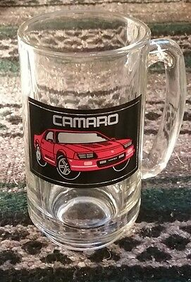 Vintage Red Chevrolet Camaro Glass Beer Mug 1990 90's Asthetic Chevy luxery car