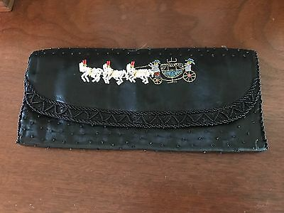 Vintage Antique Black Purse with beaded horse and carriage pattern