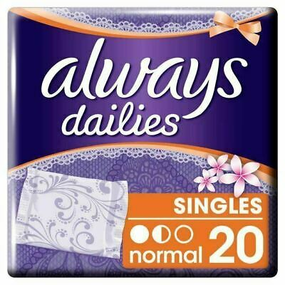Always Dailies Panty Liners Normal Fresh Scent Individually Wrapped Pack of 20