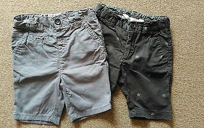 2 x SHORTS 18 - 24 MONTHS GREY WITH DINOSAUR & BLACK WITH STARS