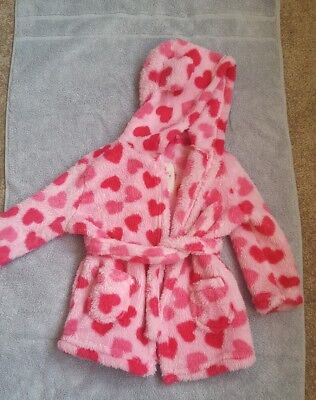 Early Days/primark Pink & Red Heart Dressing Gown With Hood 6-12 Months