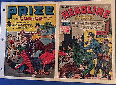 Jack Kirby Joe Simon PRIZE #63 HEADLINE #45...2 COVERS ONLY Artist Picture File