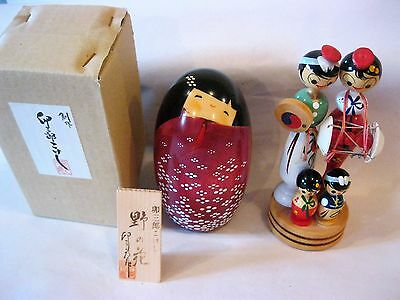 Vintage Woody Craft Kokeshi Doll with Stand and Signature (Souvenir) & Another