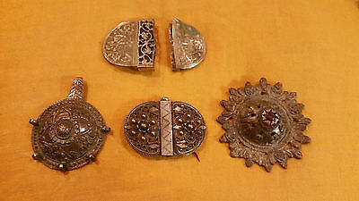 lot 4 antique greek ottoman silver ornaments bracelet and belt buckle