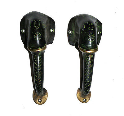 A pair Attractive Brass made Unique ELEPHANT FACE Shape DOOR HANDLES from India