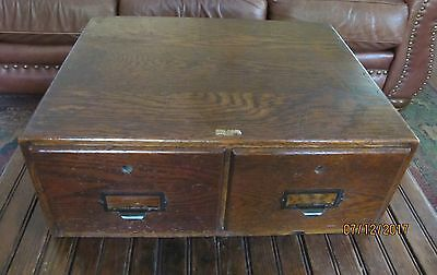 Antique WEIS Office File 5x8 Card OAK CABINET 2 Drawer Box