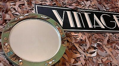 Vintage  bevelled edge easel mirror in a green lacquered Chinoiserie  frame