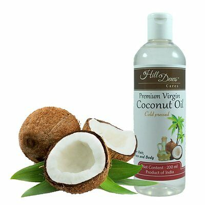 HillDews Virgin Coconut Oil 200ml - Cold Pressed - For Skin & Hair
