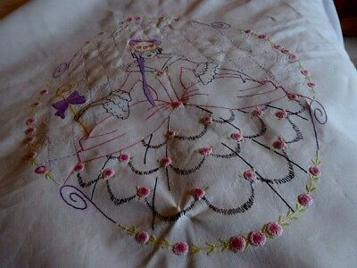 Vintage Hand Embroidered White Linen Bed Cover 88 X102''/ Crinoline Lady