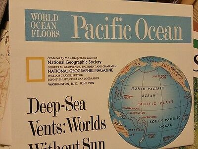 Vintage Insert National Geographic Magazine World Ocean Floors Pacific Ocean