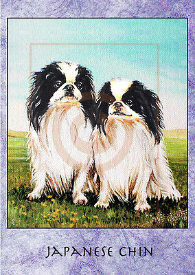 "ACEO PRINT. JAPANESE CHIN DOG. 1.5"" X 2.5"". From acrylic painting."