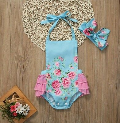 baby girl 1st first birthday outfit romper headband vintage photo prop floral