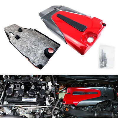 Carbon Look Engine Protector Cover for 16-17 Honda Civic 10th Gen X Sedan 1.5L