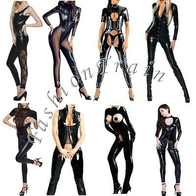 Women Latex Leather Gothic Catsuit Jumpsuit Clubwear Playsuit Zipper Costume New