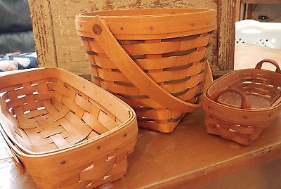 Lot of 3 Longaberger Baskets 1992 1995 1998  2 plastic liners 25th anniversary