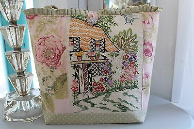 Garden Cottage Tote Purse * Vtg Rose Linen Fabric & Rhinestone Button!