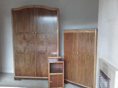 Retro antique 40s 4-piece English bedroom suite teak&sycamore, art deco style