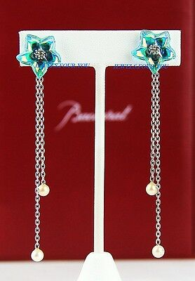 Baccarat Jewelry Blossom St Silver Iridescentturquoise 2 Pearls Clip-On Earrings