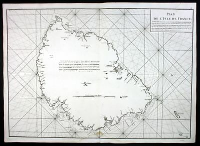 1775 Mauritius Island Port Louis sea map Karte Mannevillette Neptune Oriental