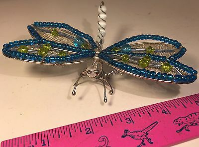 Dragonfly Ornament Handmade With Beads Blue Wings Posable Flexible Dragonfly
