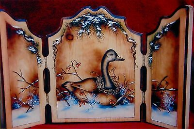 """Mary Owens vintage pen & ink/oils pattern packet """"Snowy Goose Tryptich"""""""
