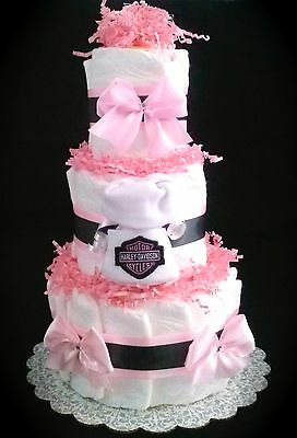 Harley Davidson Diaper Cake Pink - Small baby Girl shower decoration or gift