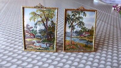Vintage Hand Embroidered Pictures In Original Frames X 2 - Beautiful Miniatures