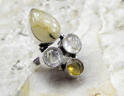 925 Sterling Silver Overlay RING Jewelry | GOLD RUTILATED QUARTZ size 8 C10-035