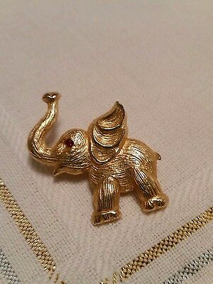 Gold - Toned Elephant Jewelry Pin