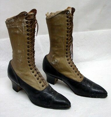 Antique Authentic Victorian Era Ladies Two Tone Leather Laced Boots